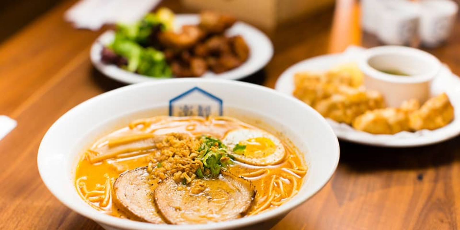 Food image of RAKKAN RAMEN, ramen, crispy chicken and gyoza