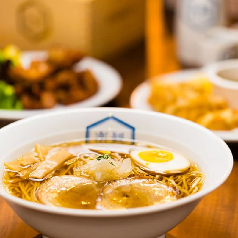 Food image of RAKKAN RAMEN, ramen, crispy chicken, gyoza, wine and sake