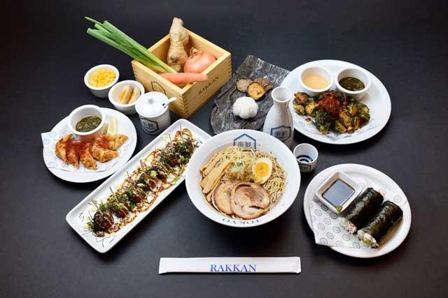 Food image of RAKKAN RAMEN, bird view group photo of foods and food materials