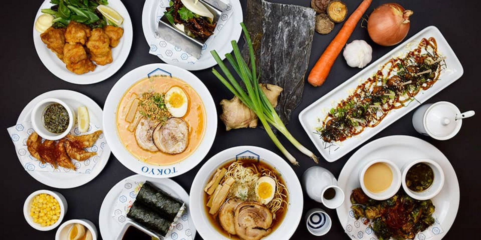 Food image of RAKKAN RAMEN, top view of the group photo of foods and food materials